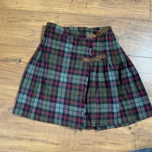 80s Vintage Pleated Plaid Wool Wrap Skirt